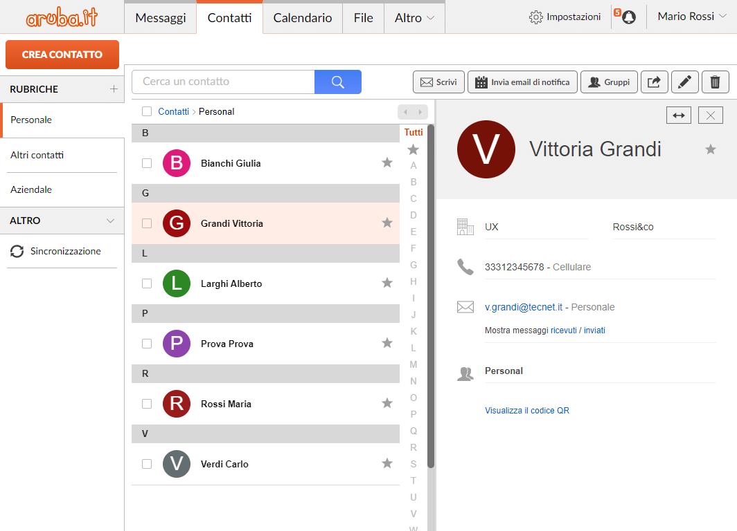 Webmail Aruba: anteprima contatti