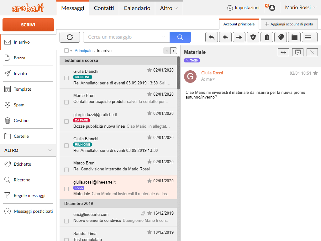 Webmail Aruba: anteprima messaggi