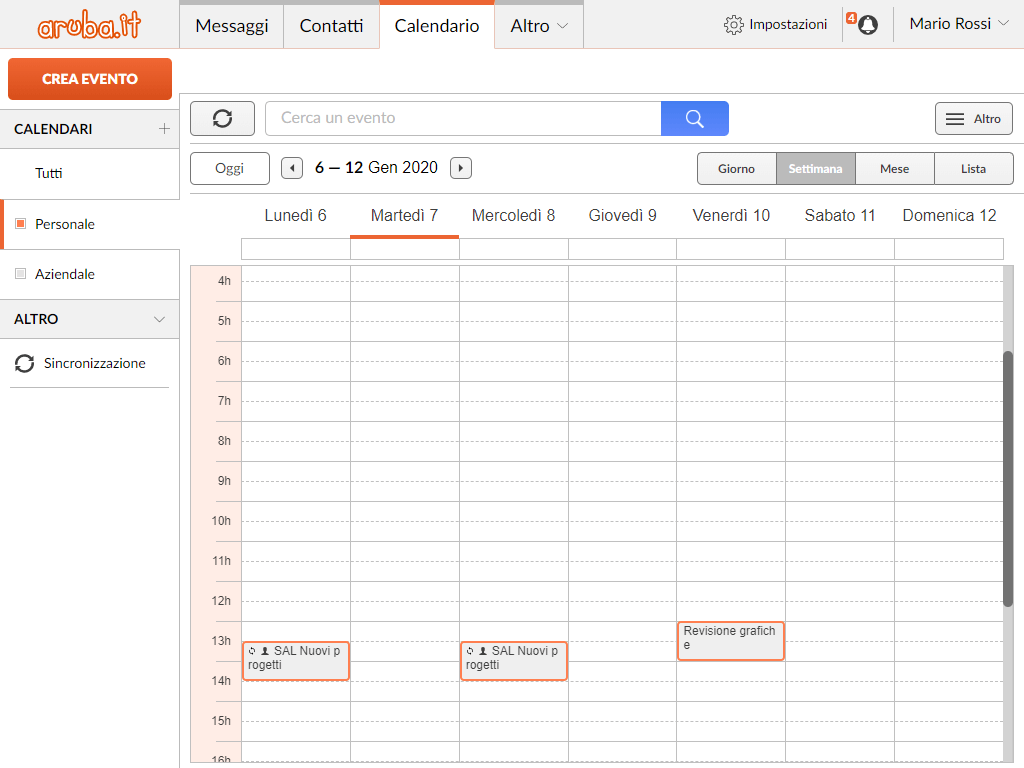 WebMail Aruba: calendario