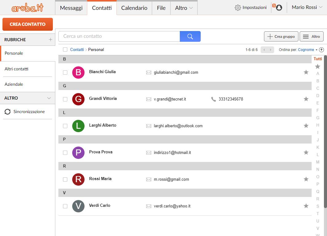 Webmail Aruba: lista contatti