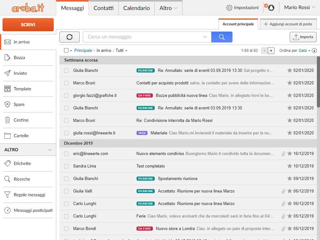 WebMail Aruba: lista messaggi