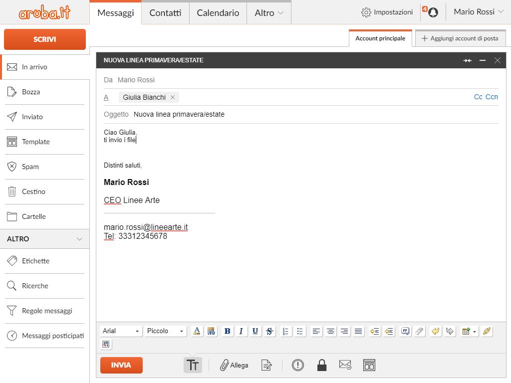 WebMail Aruba: scrivere mail